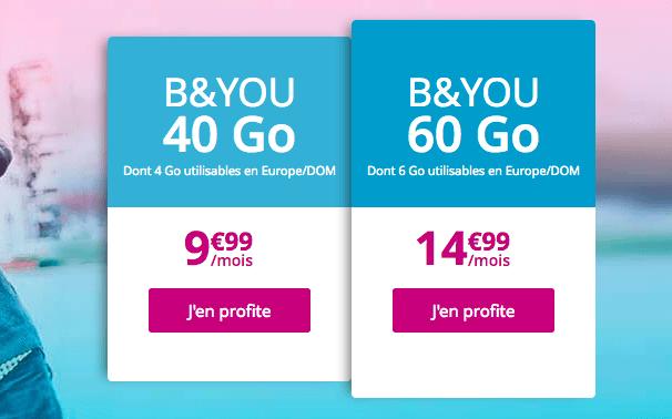 Promotion forfait mobile 4G pas cher chez B&YOU.