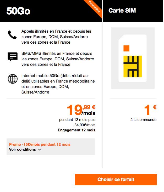 Le forfait 50 Go d'Orange.