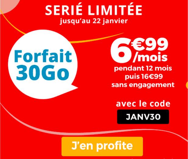 Le forfait 30 Go de Auchan Telecom.