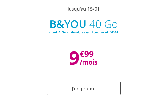 Forfait mobile B&YOU 40 Go en promotion à 10€ à vie.