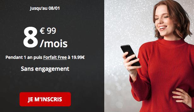 Promotion forfait mobile Free riche en 4G.