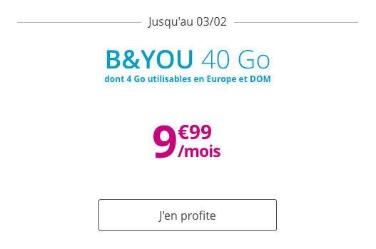 Forfait mobile B&YOU 40 Go promotion.