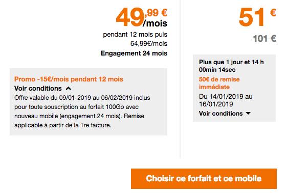 Promotion forfait mobile Orange avec 100 Go de 4G.