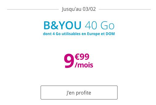 Promo forfait B&YOU 40 Go pas cher et riche en 4G.