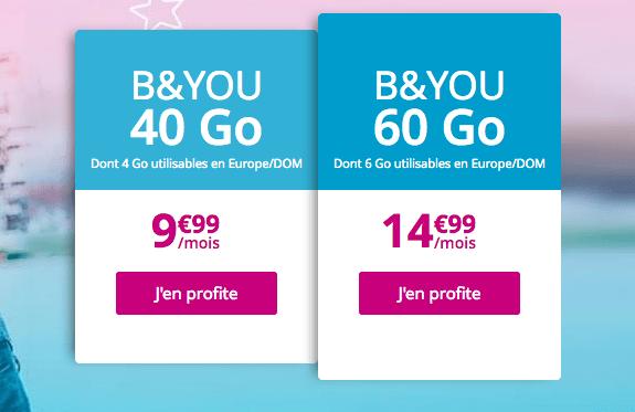 Forfait mobile B&YOU 60 Go en promotion pas cher.