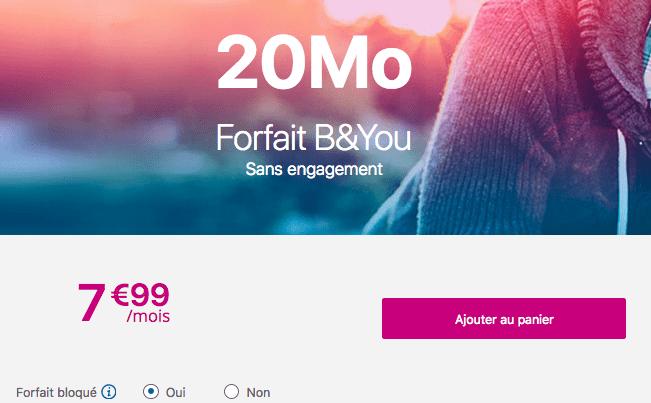 Forfait mobile B&YOU bloqué pas cher.