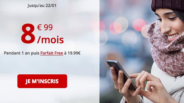 Promotion Free mobile forfait mobile pas cher avec 60 Go de 4G.