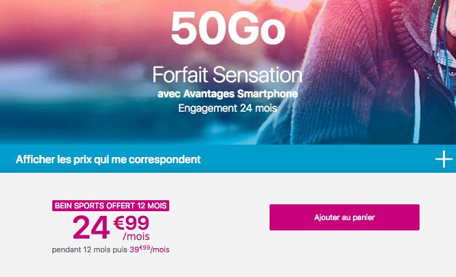 Promotion forfait Sensation 50 Go avec beIN SPORTS.