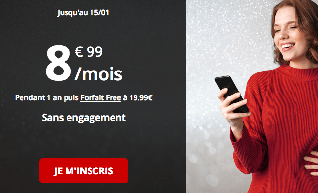 Forfait mobile Free promotion 50 Go 4G.