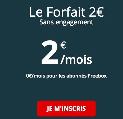 Forfait Free mobile 2€