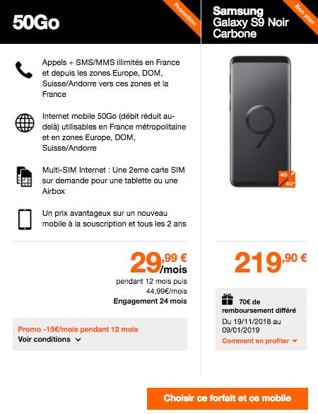 Samsung Galaxy S9 chez Orange