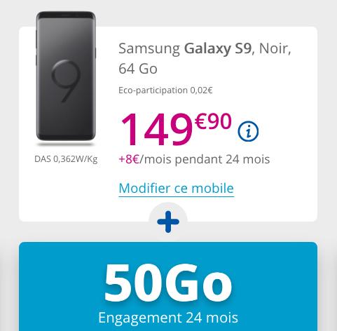 Forfait 50 Go de 4G et Samsung Galaxy S9 pas cher chez Bouygues Telecom.