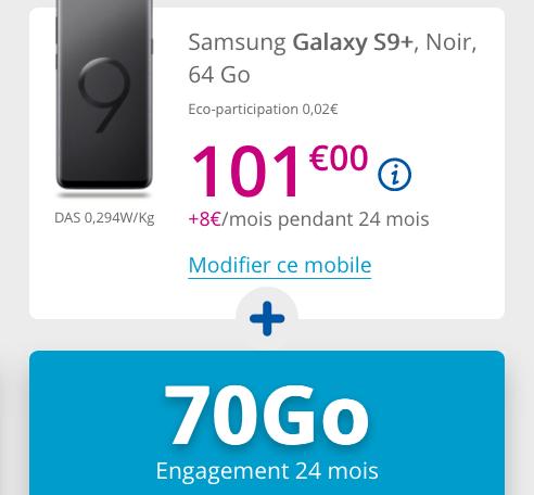 Galaxy S9+ de Samsung à bas prix avec le forfait 4G et illimité de Bouygues Telecom.