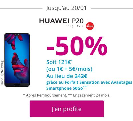 Smartphone Huawei P20 pas cher pour les soldes de Bouygues Telecom.