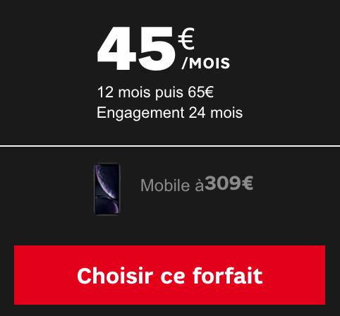 Tarifs préférentiels sur le forfait illimité de SFR avec un iPhone XR pas cher.