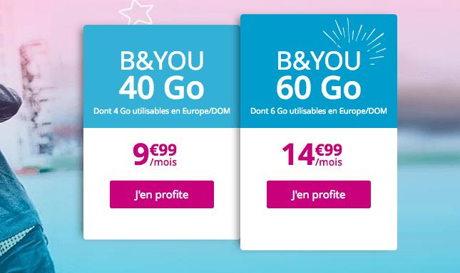 Forfait mobile B&YOU 60 Go en promotion avec appels illimités.