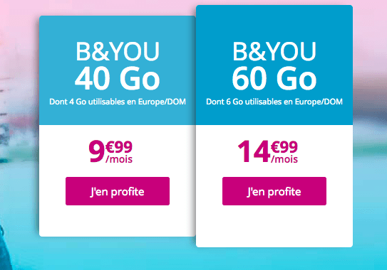 Promotion chez B&YOU sur les forfaits avec 40 et 60 Go de 4G.