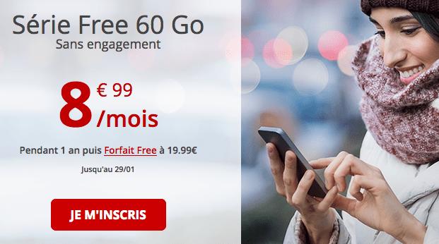 Forfait Free avec 60 Go de data en promotion.