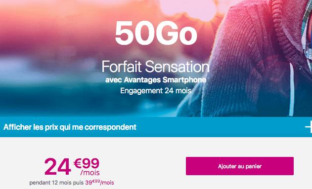 Forfait mobile Sensation 50 go en promotion chez Bouygues Telecom.