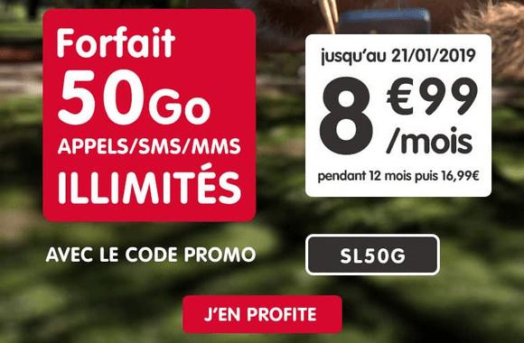 Forfait NRJ Mobile en promotion avec 50 Go de 4G.