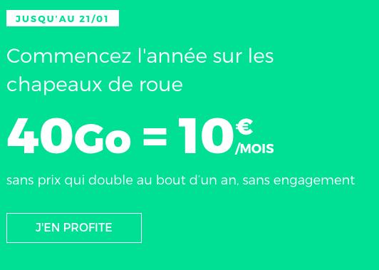 10€pour un forfait sans engagement avec 40 Go de 4G chez RED by SFR.