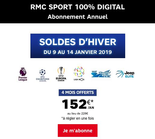 Quatre mois offerts sur RMC Sport, en promotion pour les soldes d'hiver 2019.