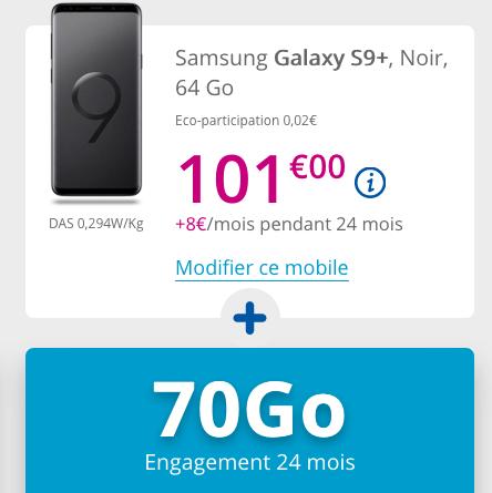 Forfait illimité et Samsung Galaxy S9+ à 1€ grâce aux soldes d'hiver de Bouygues Telecom.