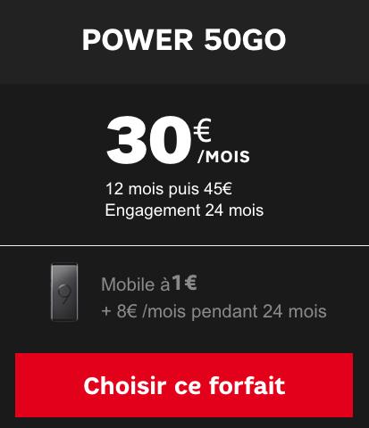 Forfait 50 Go de 4G avec Samsung Galaxy S9 pas cher chez SFR.