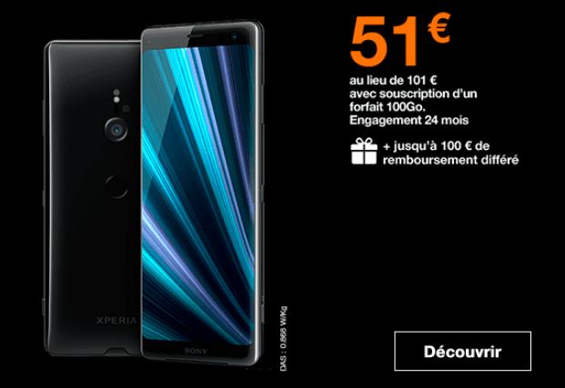 Sony Xperia XZ3 en promo à 51€ chez Orange avec un forfait riche en 4G.