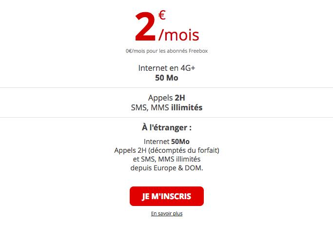 Le forfait à 2€ de Free mobile.