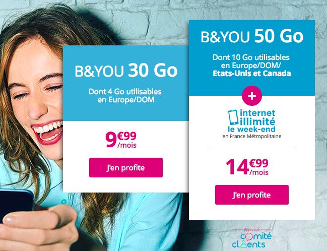 Le forfait mobile B&YOU 50 Go de Bouygues Telecom.