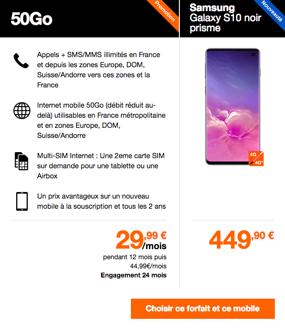 Le Samsung Galaxy S10 avec Orange.
