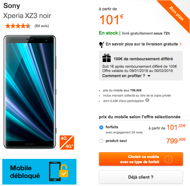 Le Xperia XZ2 avec Orange.