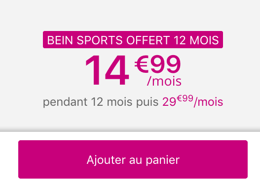 Bouygues Telecom offre 12 mois de beIN SPORTS avec son forfait 50 Go de 4G.