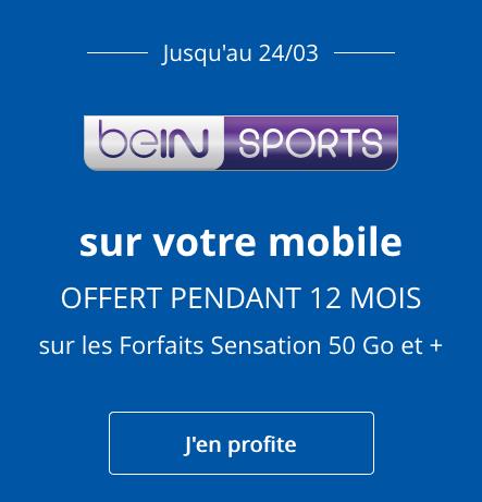 beIN SPORTS offert pendant un an avec un forfait illimité de Bouygues Telecom.