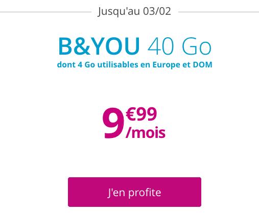 40 Go d'Internet en 4G pour moins de 10€ avec le forfait promo de B&YOU.