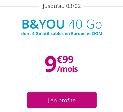 Forfait B&YOU 40 Go à bas prix pour les soldes de Bouygues Telecom.