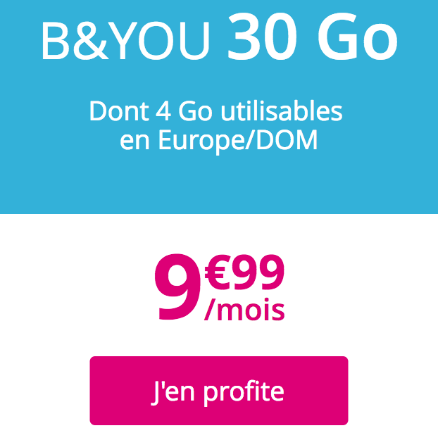 Le forfait mobile B&YOU 30 Go.
