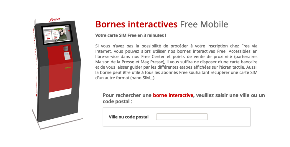 Carte bornes Free mobile