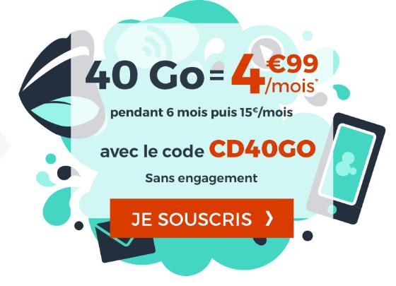 Cdiscount Mobile et la promo pour un forfait illimité avec 40 Go de 4G.