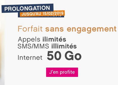 Forfait pas cher et sans engagement de Coriolis Telecom avec 50 Go de 4G.