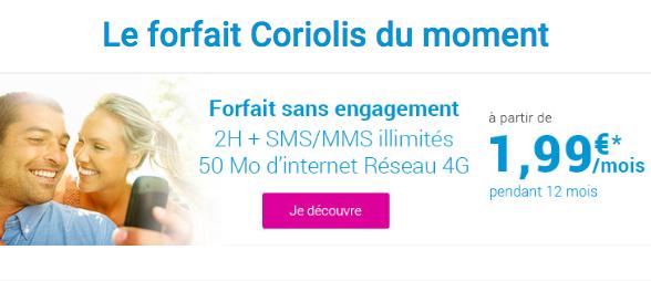 Le forfait à 2€ de Coriolis Telecom.