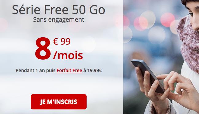 Forfait Free en promotin avec 50 Go de data.