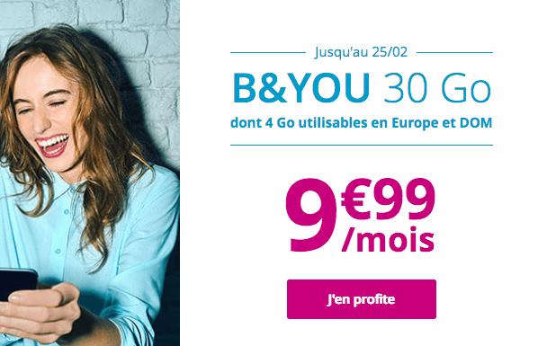 Promotion forfait illimité B&YOU 30 Go.