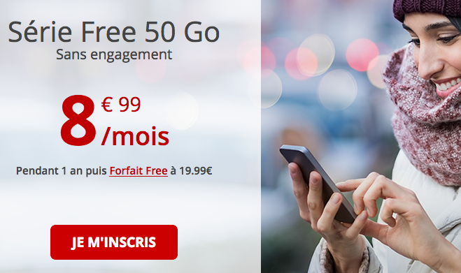 Promotion Forfait Free avec 50 Go de 4G.