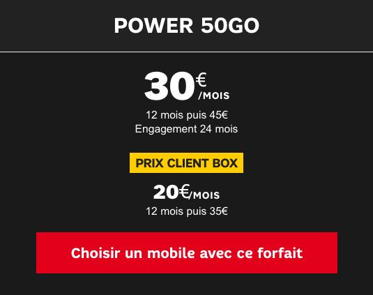 Forfait Power 50 Go SFR en promotion.