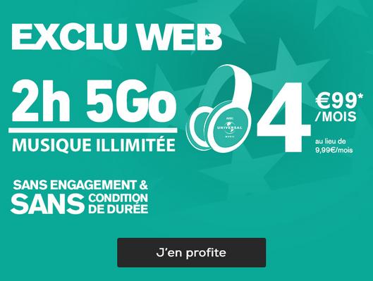 Forfait pas cher et sans engagement ni condition de durée avec 5 Go de 4G chez La Poste Mobile.