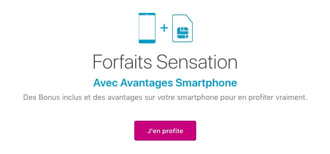 Forfait sensation 70 Go et avantages smartphone bouygues telecom.