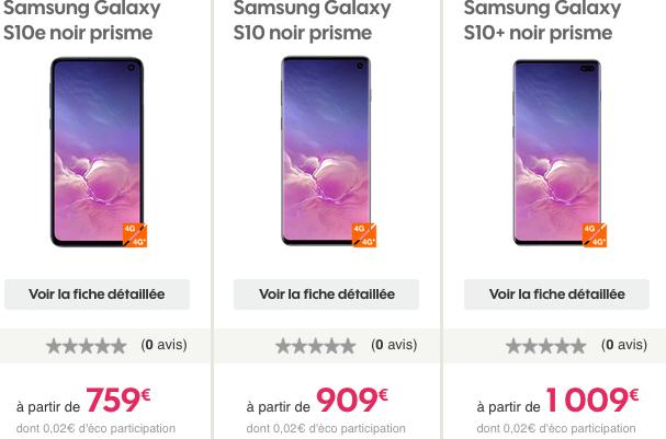 Smartphones Samsung Gaalxy S10 en précommande chez Sosh.