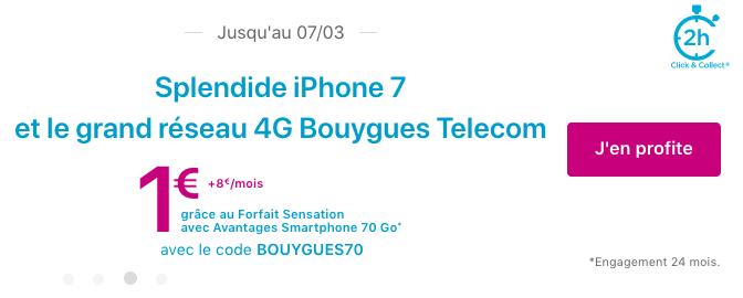 Smartphone iPhone 7 pas cher avec forfait illimité Bouygues Telecom.